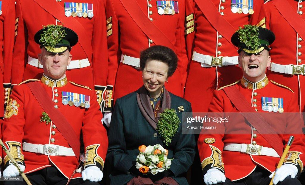 Princess Anne Visits The 1st Battalion Irish Guards On St Patrick's Day : News Photo