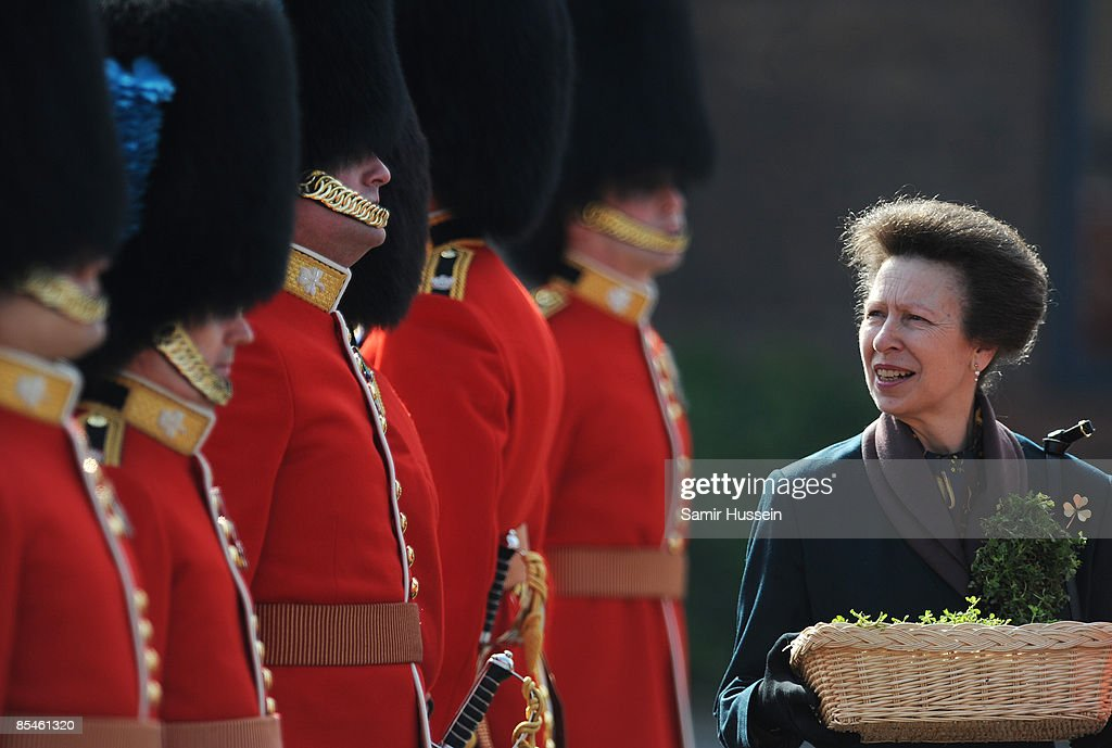 Princess Anne Visits The 1st Battalion Irish Guards On St Patrick's Day : News Photo