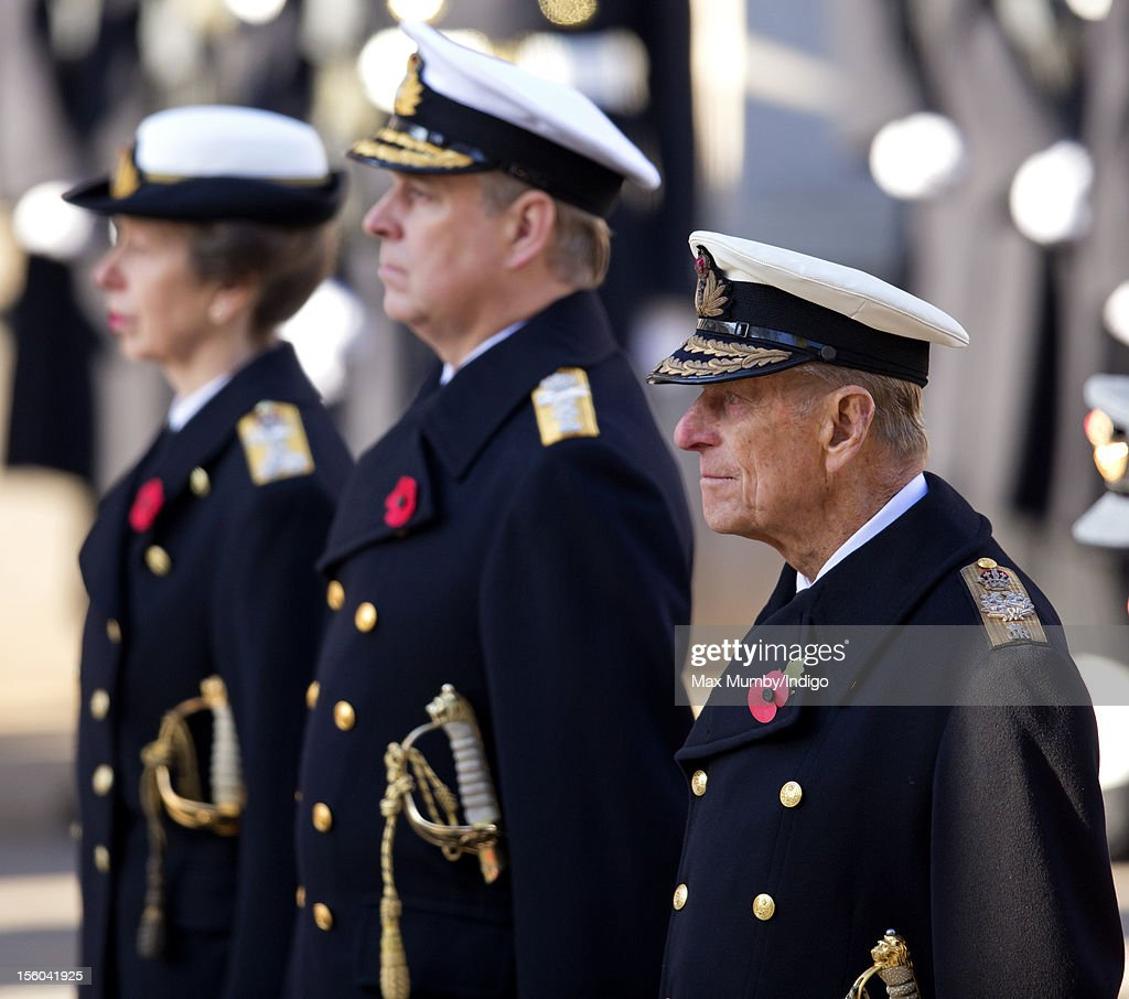 Princess Anne, The Princess Royal, Prince Andrew, Duke of York and Prince Philip, Duke of Edinburgh attend the annual Remembrance Sunday Service at the Cenotaph, Whitehall on November 11, 2012 in London, England. Remembrance Sunday tributes were carried out across the nation to pay respects to all who those who lost their lives in current and past conflicts, including the First and Second World Wars.