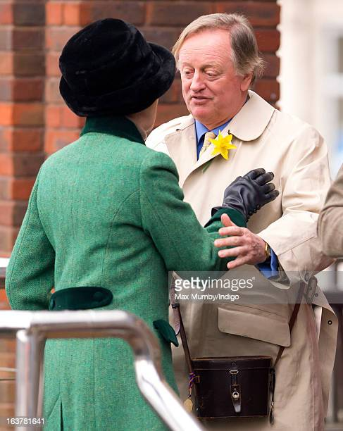 Princess Anne The Princess Royal says goodbye to Andrew Parker Bowles after attending Day 4 of The Cheltenham Festival at Cheltenham Racecourse on...