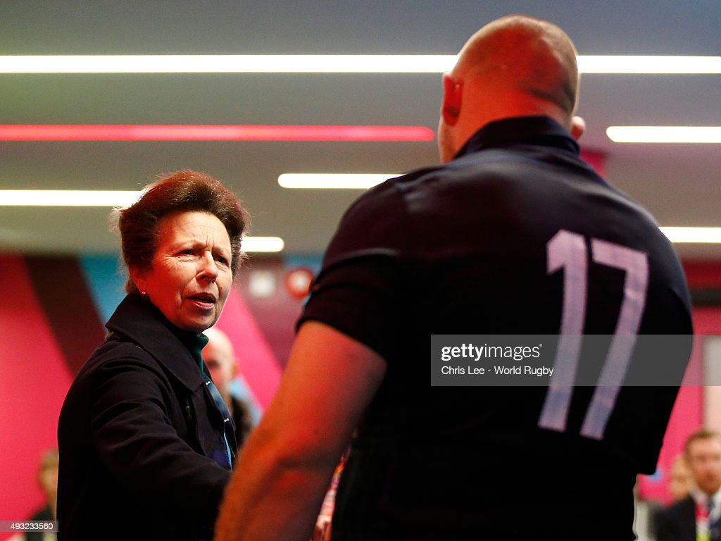 Princess Anne, The Princess Royal talks to Gordon Reid of Scotland after the 2015 Rugby World Cup Quarter Final match between Australia and Scotland at Twickenham Stadium on October 18, 2015 in London, United Kingdom.