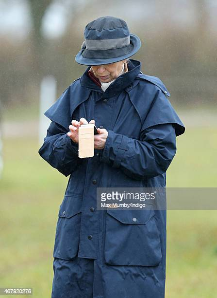 Princess Anne The Princess Royal uses her mobile phone as she attends the Gatcombe Horse Trials at Gatcombe Park on March 28 2015 in Stroud England