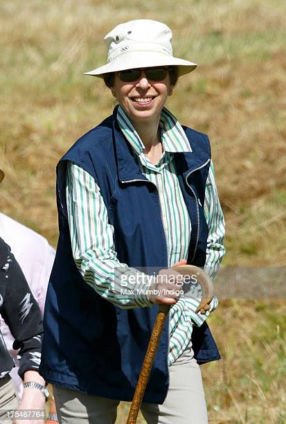 Princess Anne, The Princess Royal walks the cross country course of the Festival of British Eventing at Gatcombe Park, Minchinhampton on August 3,...