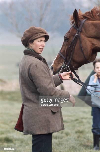 Princess Anne the Princess Royal with a horse circa 1980