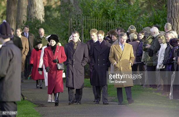 Princess Anne, [ The Princess Royal ] With Her Son Peter Phillips, Prince Charles With Prince William And Prince Harry Attending Church On Christmas...