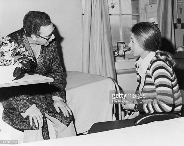 Princess Anne visiting journalist Brian McConnell at St George's Hospital in London after he was shot in the chest while attempting to intervene...
