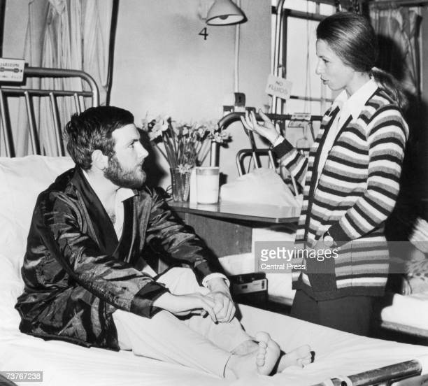 Princess Anne visiting police officer Michael Hills at St George's Hospital in London after he was shot in the stomach while attempting to intervene...