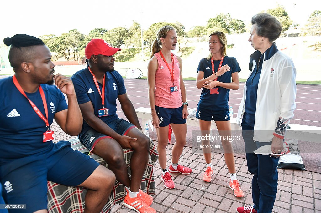 HRH Princess Anne Visits Team GB Preparation Camp on August 7, 2016 in Belo Horizonte, Brazil.