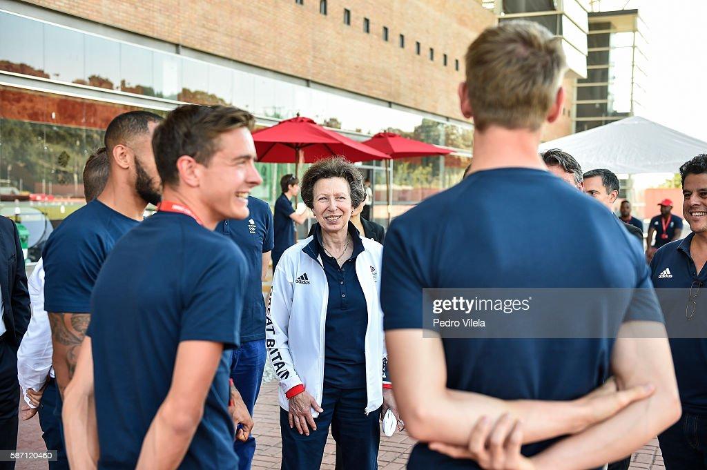 HRH Princess Anne Visits Team GB Preparation Camp on August 7, 2016 in Belo Horizonte, Brazil... : News Photo