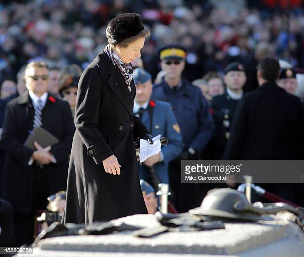 Princess Anne walks past the Tomb of the Unknown Soldier during this morning's Remembrance Day ceremony November 11 2014 in Ottawa Canada An...