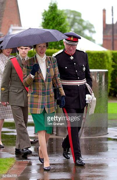 Princess Anne walks with the Lord Lieutenant at the Official Opening of The Prior Court School An Independent Residential School For Children And...
