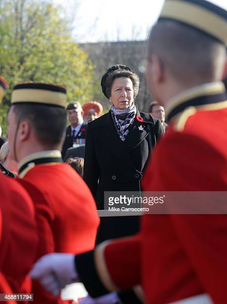 Princess Anne watches the 'March Past' after this morning's Remembrance Day ceremony November 11 2014 in Ottawa Canada An estimated 50000 or more...
