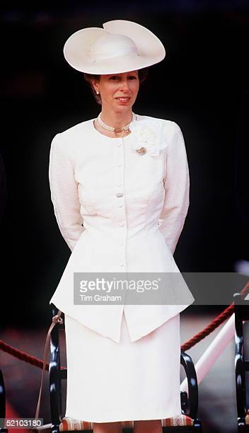 Princess Anne Watching The The Veterans Parade On Vj Day.