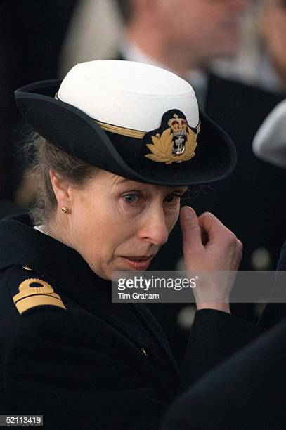 Princess Anne Wiping A Tear From Her Eye At The Decommissioning Of Hmy Britannia At Portsmouth
