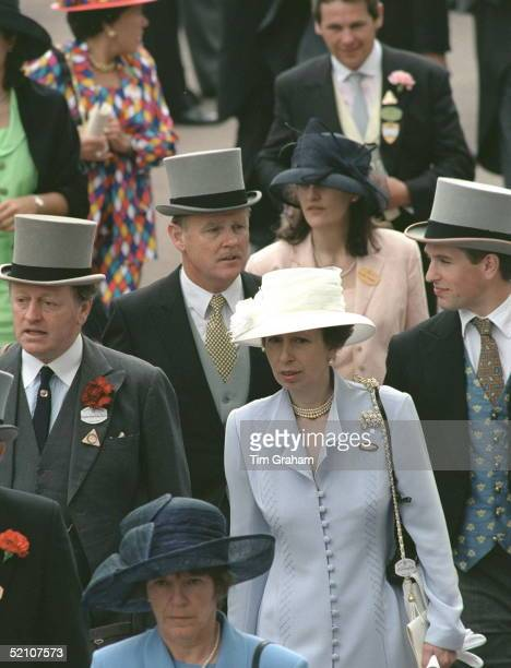 Princess Anne With Andrew Parker-bowles And Her Son Peter Phillips Attending Ladies Day At Ascot.in The Background The Princess's Police Bodyguard