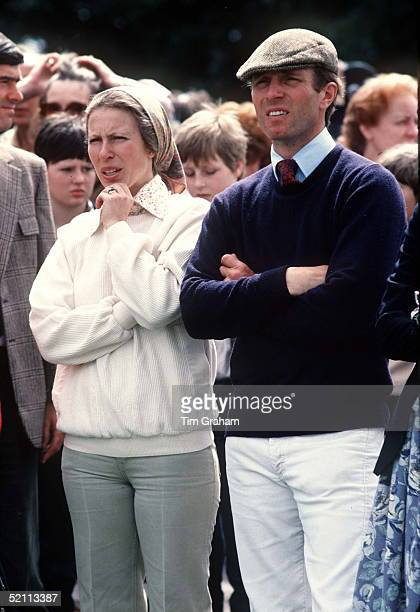 Princess Anne With Captain Mark Phillips Before Their Divorce Watching A Clay Pigeon Shoot Near Chester
