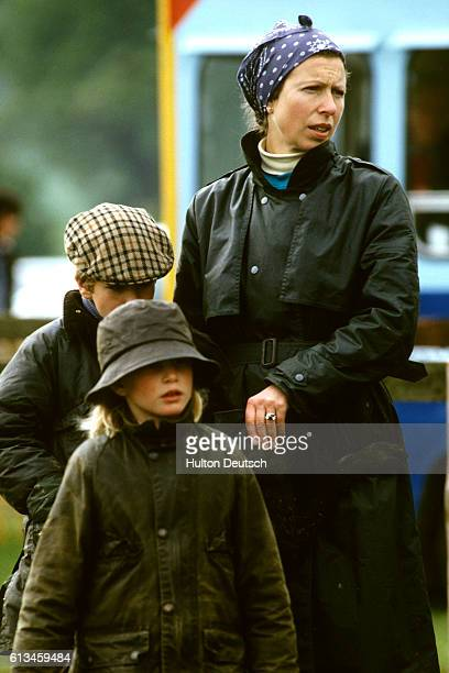 Princess Anne with her children Zara and Peter Phillips at the 1987 Royal Windsor Horse Show.