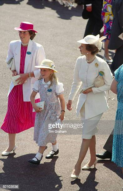 Princess Anne With Her Daughter, Zara Phillips And A Member Of Her Staff, Reported To Be Nanny Sarah Minty Attending Royal Ascot To Watch The Racing....