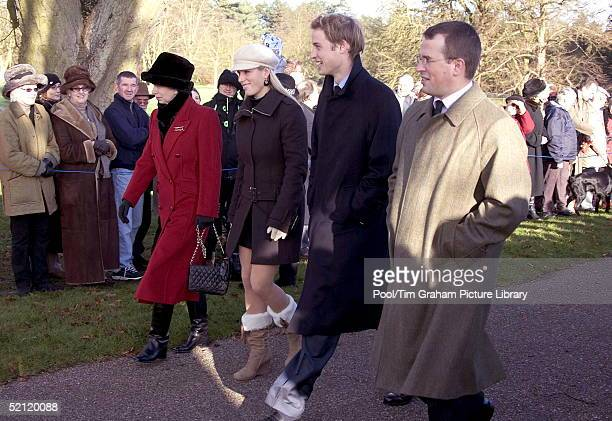 Princess Anne With Her Daughter Zara Phillips And Son Peter Phillips And Prince William With Hands In Pockets Walking To Church At Sandringham On...