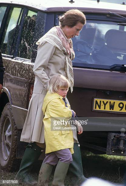 Princess Anne with her daughter Zara Phillips at the Windsor Horse Trials on May 29 1988 in Windsor Great Park Windsor Berkshire England