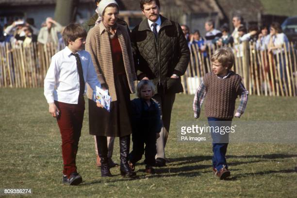 Princess Anne with her daughter Zara Phillips nearly 3 and son Peter Phillips right at the Badminton Horse Trials