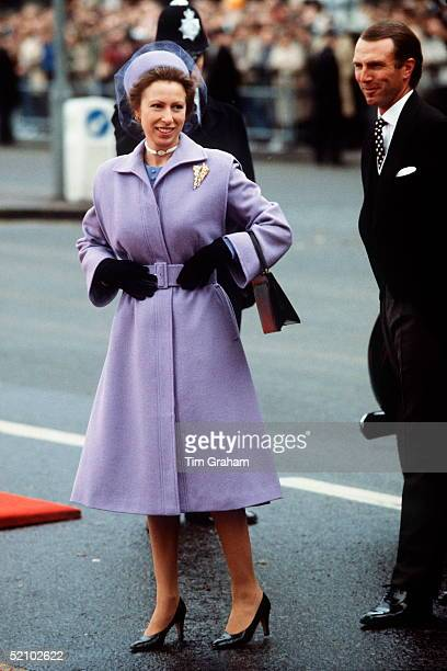 Princess Anne With Her Husband Mark Phillips Going To Meet Queen Of The Netherlands During Her Visit To London