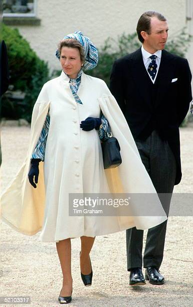 Princess Anne With Her Husband, Mark Phillips, Weeks Before The Arrival Of Their Daughter, Attending The Wedding Of Her Sister-in-law.