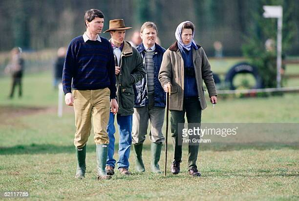 Princess Anne With Her Husband Rear-admiral Timothy Laurence And Son Peter Phillips At Gatcombe Park Horse Trials At Gatcombe Park. Behind Them Is...