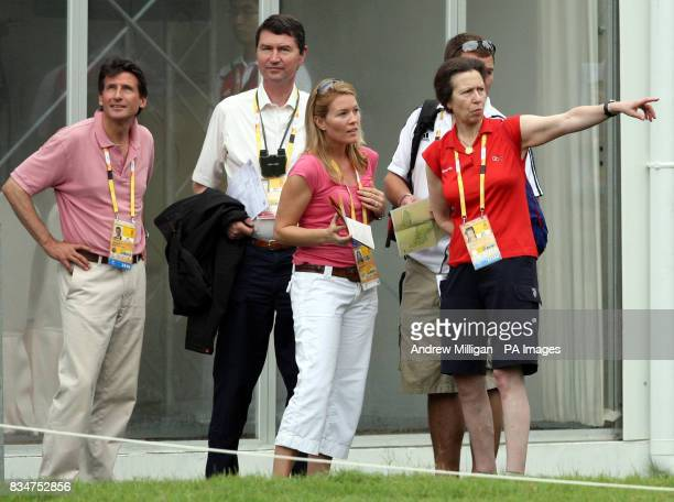 Princess Anne with her husband Tim Laurence son Peter Phillips and his wife Autumn with Seb Coe at the Shatin Equestrian centre Hong Kong during the...