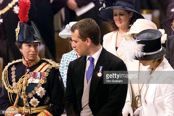 Princess Anne with her son Peter Phillips at a Service of Thanksgiving to mark the Queen's Golden Jubilee at St Paul's Cathedral.