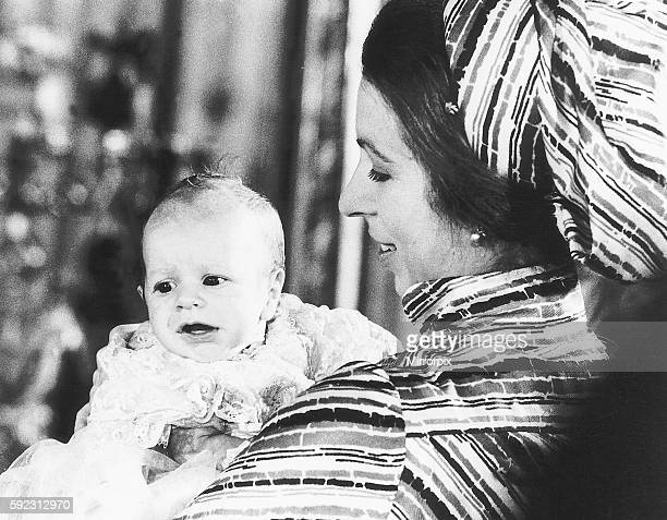 Princess Anne with her son Peter Phillips at his baptism at Buckingham Palace December 1977