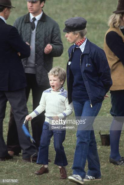 Princess Anne with her son Peter Phillips on April 17, 1982 at the Badminton Horse Trials, in Badminton, Gloucestershire, England.