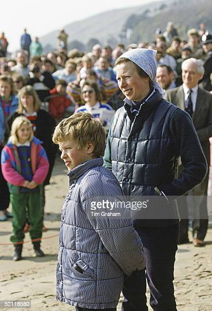 Princess Anne With Her Son, Peter Phillips, Wearing Puffa Style Jackets At An Outward Bound Centre In Aberdovey, Wales.