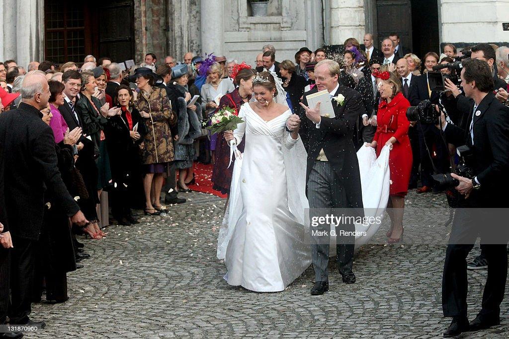Royal Wedding of Prince Carlos de Bourbon de Parme and Princess Annemarie de Bourbon de Parme-Gualtherie van Weezel in Abbaye de : News Photo