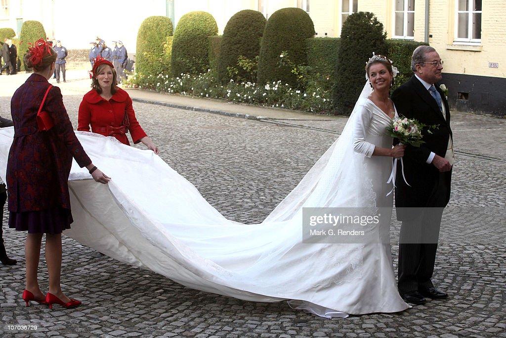 Princess Annemarie Gualtherie van Weezel and Prince Gualtherie van Weezel arrive for the Royal Wedding of Princess Annemarie Gualtherie van Weezel and Prince Carlos de Bourbon de Parme at Abbaye de la Cambre on November 20, 2010 in Brussels, Belgium.