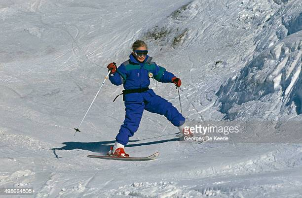 Princess Anne's daughter Zara Phillips on a skiing holiday in Morzine France 3rd January 1989
