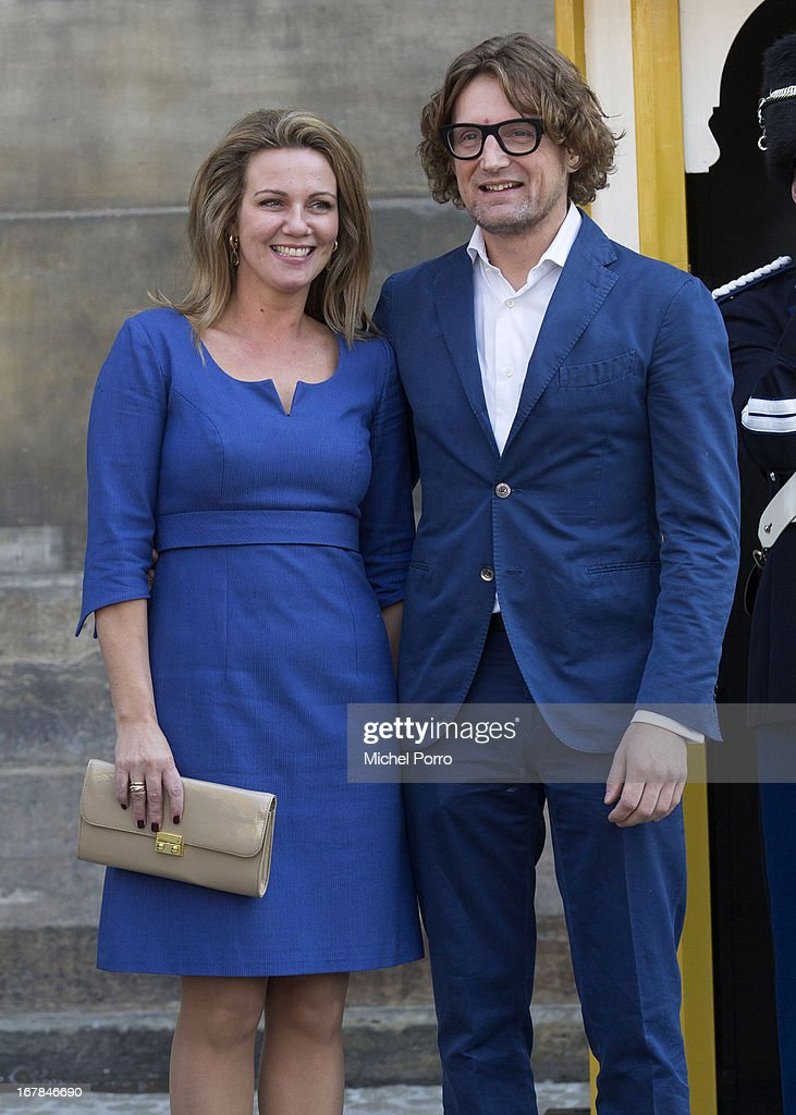 Princess Annette and Prince Bernhard of The Netherlands leave the Royal Palace after brunch with King Willem Alexander and Queen Maxima of The Netherlands on May 1, 2013 in Amsterdam Netherlands.