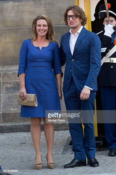 Princess Annette and Prince Bernhard of The Netherlands leave the Royal Palace after brunch with King Willem Alexander and Queen Maxima of The...