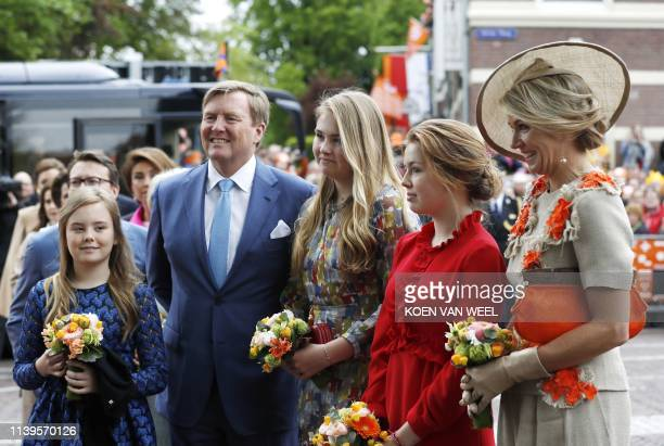 Princess Ariane king WillemAlexander Princess Amalia Princess Alexia and Queen Maxima arrive to Amersfoort to celebrate Kings Day on April 27 2019...
