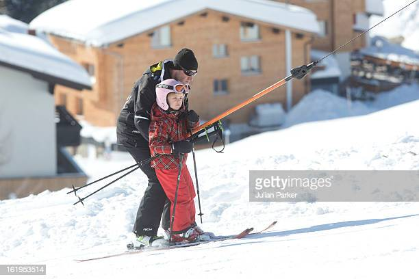 Princess Ariane of Holland is helped on a drag lift by a ski instructor during her annual winter skiing holiday on February 18 2013 in Lech Austria