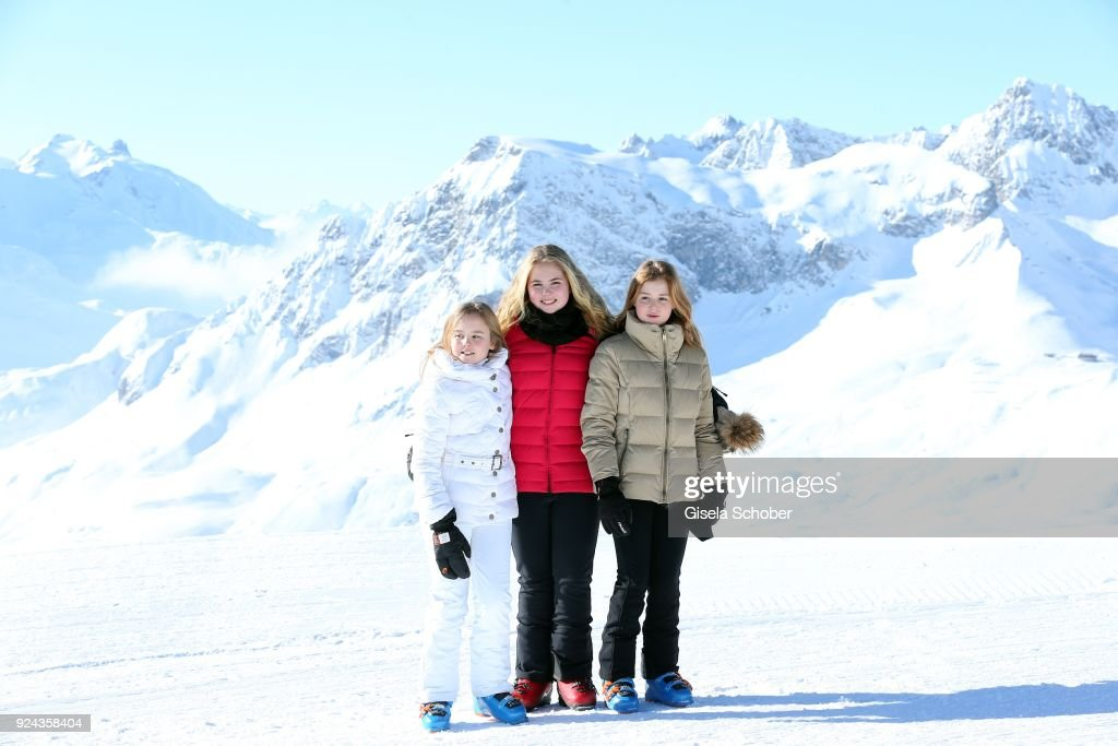 Princess Ariane of The Netherlands and her sister Crown Princess Catharina-Amalia of The Netherlands and sister Princess Alexia of the Netherlands during the annual winter photo call on February 26, 2018 in Lech, Austria.