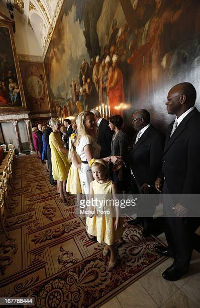 Princess Ariane of the Netherlands arrives with family members during the ceremony for the Act of Abdication by Queen Beatrix of the Netherlands in...
