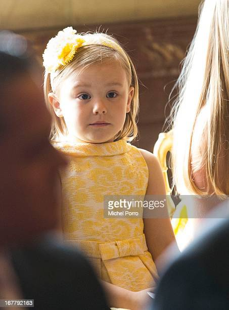 Princess Ariane of the Netherlands looks on during the Act of Abdication by her grandmother Queen Beatrix of the Netherlands in the Moseszaal at the...