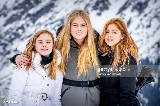 Princess Ariane of The Netherlands, Princess Amalia of The Netherlands, Princess Alexia of The Netherlands during the annual photo call on February...
