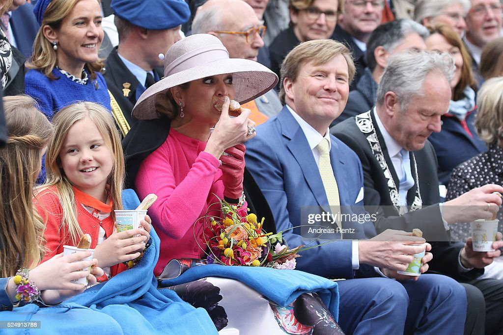 Princess Ariane of The Netherlands, Queen Maxima of The Netherlands and King Willem-Alexander of The Netherlands attend King's Day (Koningsdag), the celebration of the birthday of the Dutch King, on April 27, 2016 in Zwolle, Netherlands. Parties and concerts are held across the Netherlands as members of the Dutch royal family oversee festivities.
