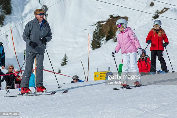Princess Ariane Princess Alexia and King WillemAlexander of the Netherlands pose for a picture at the annual winter photocall on February 23 2015 in...