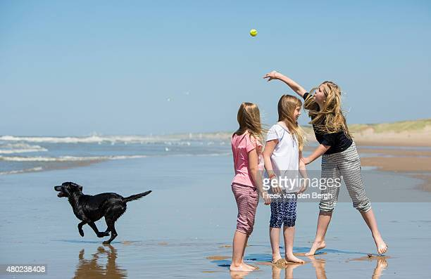Princess Ariane, Princess Alexia and Princess Amalia of The Netherlands and one of their dogs pose for pictures on July 10, 2015 in Wassenaar,...