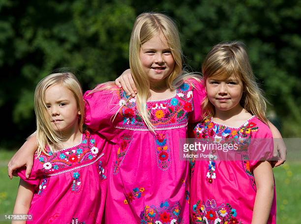 Princess Ariane Princess Amalia and Princess Alexia of the Netherlands meet the press during a holiday photo session on July 7 2012 in The Hague...