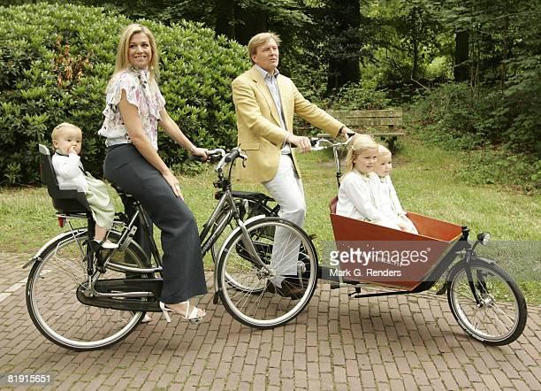 Princess Ariane Princess Maxima Prince Willem Alexander Princess Catharina Amalia and Princess Alexia of The Netherlands ride a bike during a Dutch...