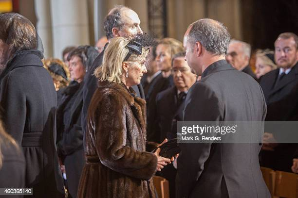 Princess Astrid and Prince Lorentz of Belgium attend the funeral of Queen Fabiola of Belgium at Notre Dame Church on December 12, 2014 in Laeken,...